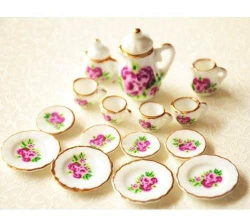 Hermoso Juego De Te Miniatura Porcelana Fina M Clavel Flower