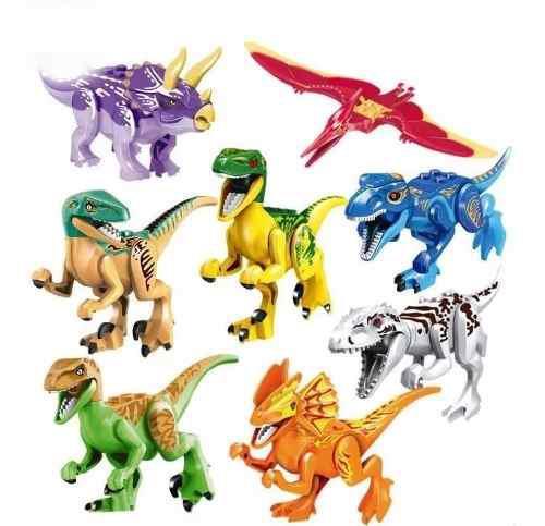 Set 8 Dinosaurios Mundo Jurasico Armar Compatible Bloque Rex