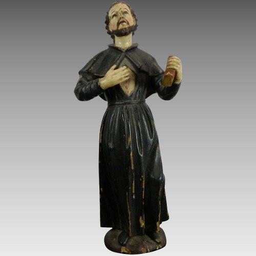 Antigua Estatua En Madera Tallada Policromada Santo Tomás