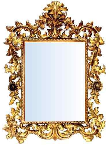 Antiguo Espejo Rococó En Madera De Cedro Con Hoja De Oro