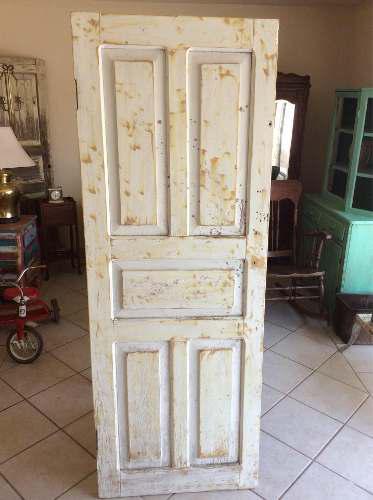 Bonita Puerta De Madera Antigua Con Efecto Vintage 182x67xm