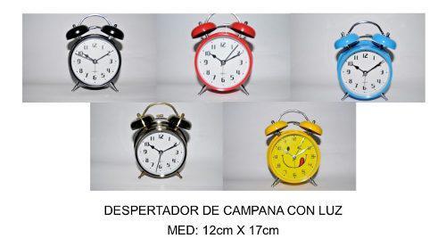 Despertador De Campana Con Luz Med: 12cm X 17cm