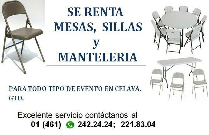 SE RENTA MESAS Y SILLAS CON MANTELERIA