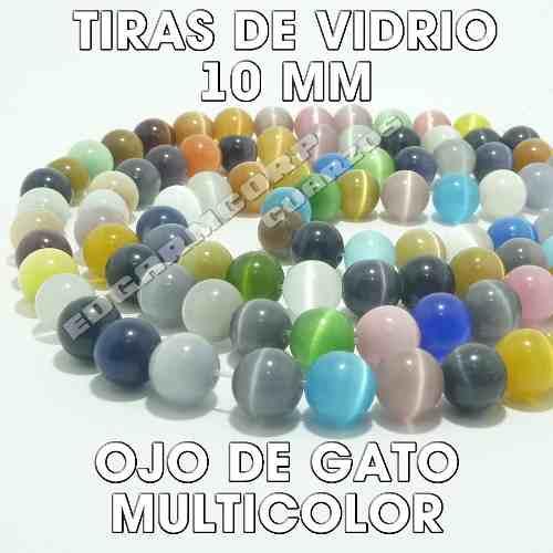 Tiras De Vidrio Ojo De Gato Esfera 10 Mm Multicolor