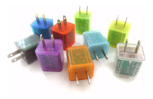 Adaptador Cubo Cargador De Pared 2.1a 2 Puertos Usb Luz Led
