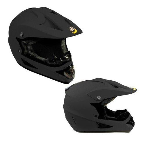 Casco Tipo Cross Moto Negro Mate Dot Tallas S, M, L Y Xl