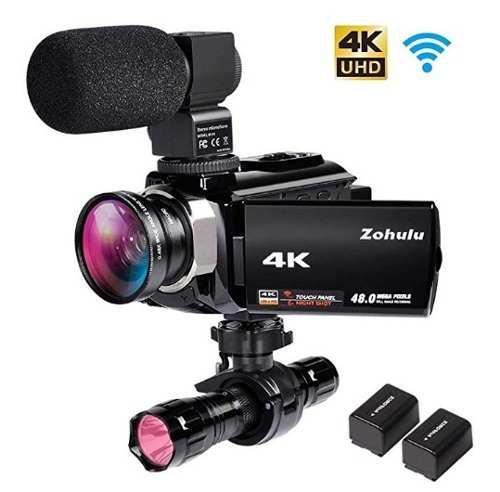 Cámara De Vídeo 4k Wifi Con Micrófono Zohulu Zoom Digital