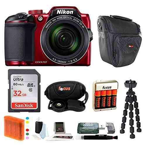 Cámara Digital Nikon Coolpix B500 (Rojo) Con Tarjeta Memo