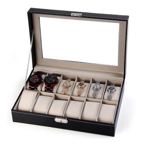 Estuche Caja Organizador /joyas/relojes 12 Compartimentos