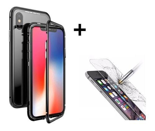 Funda Magnética D Metal C Vidrio iPhone + Mica Glass