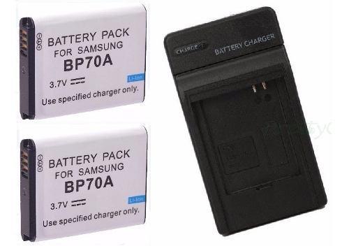 Kit Cargador + 2 Baterias Bp-70a Para Camara Digital Samsung