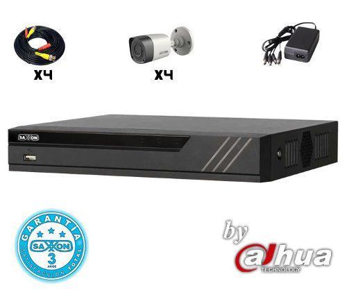 Kit Saxxon Cctv Hdcvi De 4ch 4 Cam. Bullet 720p Disco 500gb