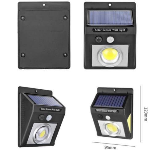 Lampara Luz Solar Cob Led Sensor Movimiento Bateria Recargab