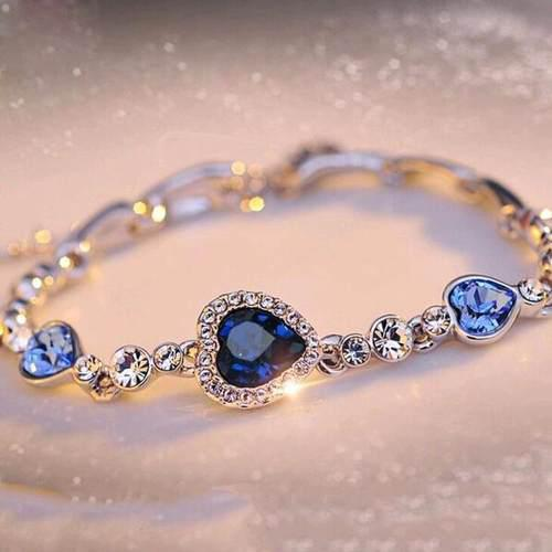 Pulsera De Corazones Color Azul Con Cristal Fantasia Hermosa
