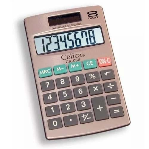 Calculadora Bolsillo Basica Metal 8 Digito Solar Y Bateria A