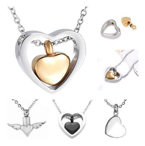 1 Collar Relicario Corazón Urna Cenizas Acero Varios