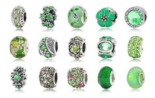15 Charms Plata 925 Y Cristales Verdes Compatibles Pandora