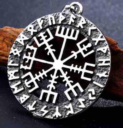 Aegishjalmur Vegvisir Vikingo Odín Dije Collar Acero Unisex
