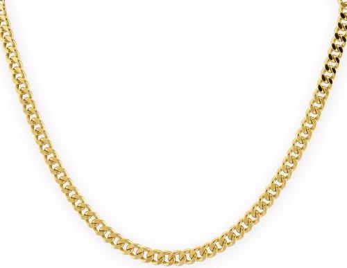 Cadena Barbada De 14.5grs. Oro Macizo 14k Y 60cm De Largo