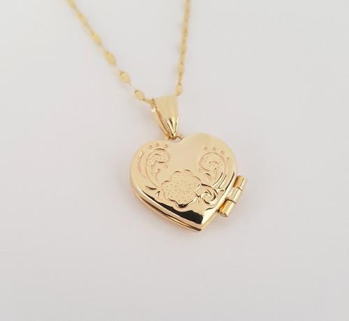Cadena Con Dije De Corazón Relicario Oro Sólido 10k