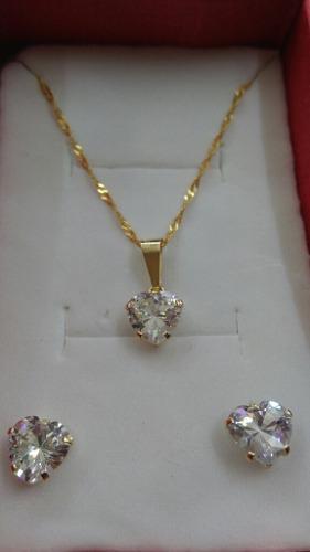 Cadena Con Dije Y Aretes De Corazón De Oro 10k Garantizado
