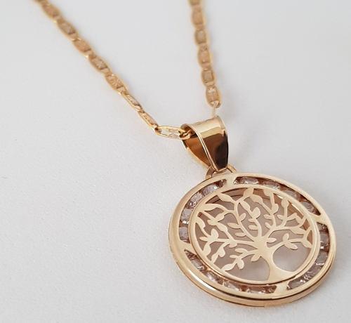 Cadena Con Medalla Dije Arbol De La Vida Oro Sólido 10k
