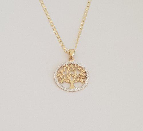 Cadena Con Medalla Dije Arbol De La Vida Oro Sólido 14k