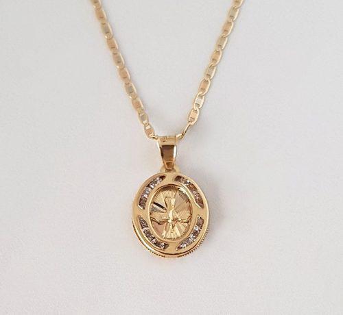 Cadena Con Medalla Espiritu Santo Bautizo Y Primera Oro 10k