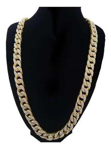 Cadena Diamantada Oro Laminado Hip Hop Style Zc 14mm Grosor