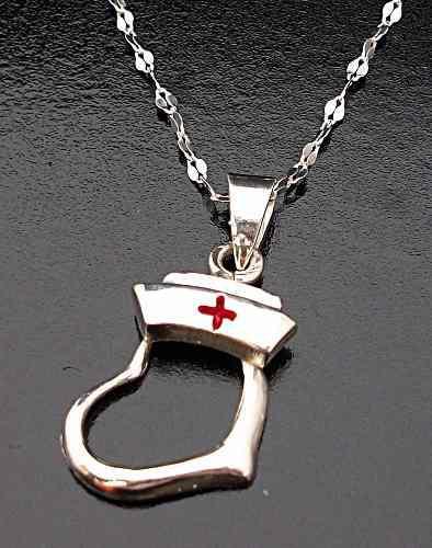 Cadena Dije Cofia Gruesa 3mm Corazón Cruz Enfermera Plata