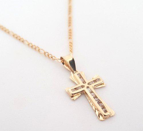 Cadena Medalla Cruz Bautizo, Primera Comunión Oro Solido