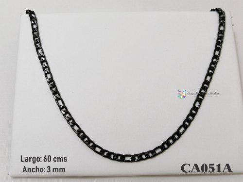 Cadena Tipo Cartier 60cms 3mm Acero Inoxidable Negro