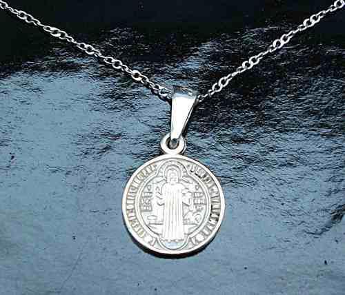 Cadena Y Dije De Cruz Medalla San Benito En Plata Ley.925