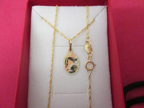 Cadena Y Medalla Bautizo Oro Sólido De 10 Kilates.