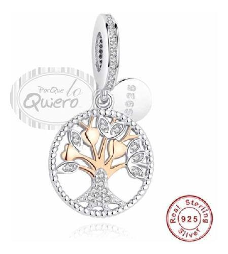 Charm 100% Plata 925 Compatible Pandora Oro Rosa Árbol Vida