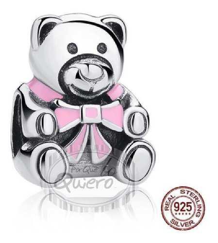 Charm Compatible Pandora Oso Osito 100% Plata 925 Rosa Dije