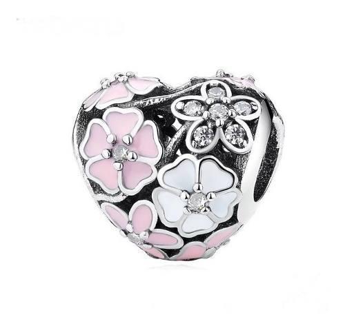 Charm De Plata Corazón De Flores Compatible Con Pandora