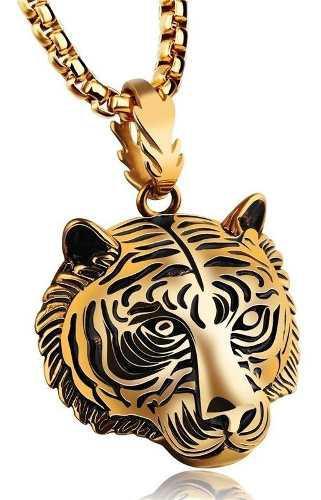 Collar Cadena Tigre Titanio Chapeado En Oro 24k Y Plata 925