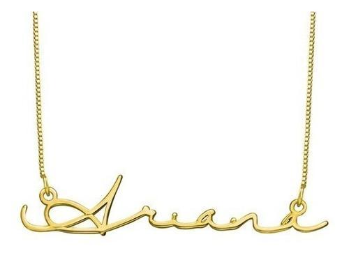 Collar Con Nombre En Firma Plata.925 Chapado En Oro