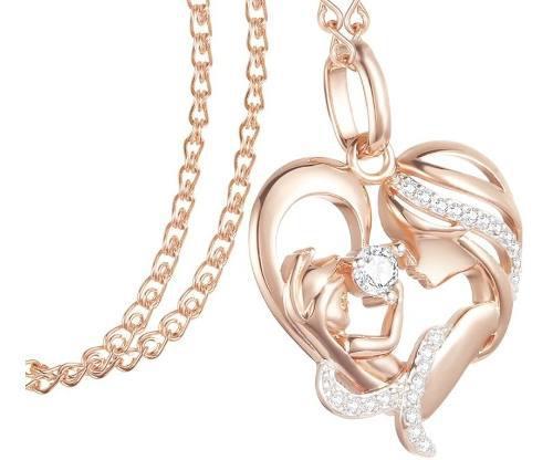 Collar Corazón Madre Hijo Zirconia Cubica Cadena Oro 585