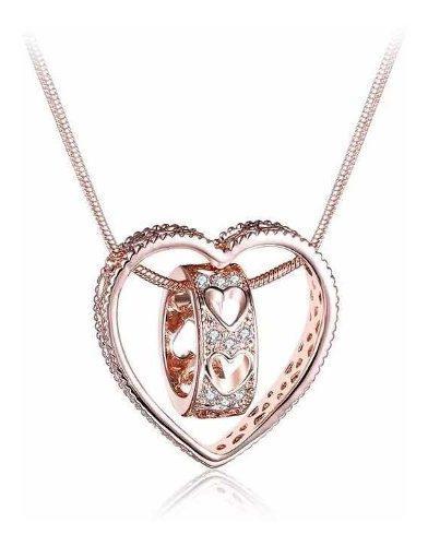 Collar Corazón Oro Rosa 18k Lam Y Brillantes.