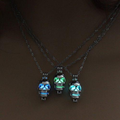 Collar Craneo Luminoso Brilla En La Oscuridad Calavera