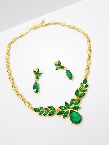 Collar Cristal Verde Con Aretes Dorado Y Envio Gratis