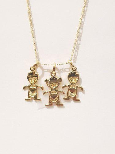 Collar De 2 Niños Y 1 Niña De 2 Cm Cadena De Oro Laminado