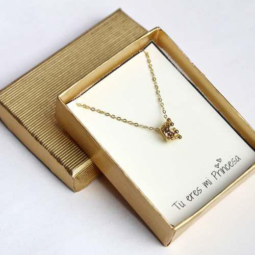 Collar De Corona Regalo Pareja Aniversario Chapa De Oro 22k