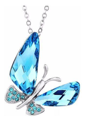 Collar De Mariposa Azul Cristal Swarovski Calidad Unica.