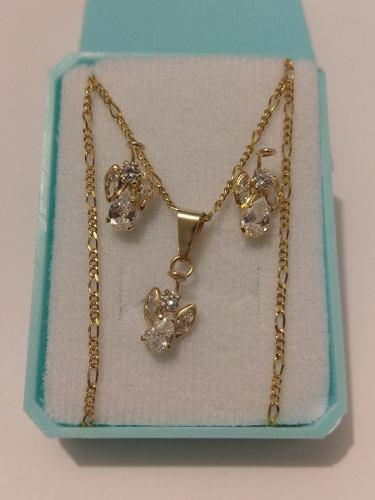Collar De Oro De Angel Con Cristales Y Aretes Envio Gratis