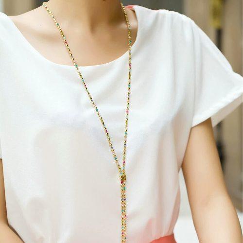 Collar De Oro Swarovski Colores Envio Gratis!!!