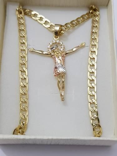 Collar Dije Cristo De 4 Cm Y Cadena Oro Laminado 3 Mm Envio