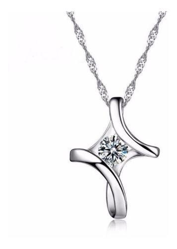Collar Dije Cruz Plata.925 Swarovski Zirconia Mujer Joyería